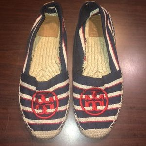 Tory Burch Espadrille Nautical Flat Canvas Shoe 7